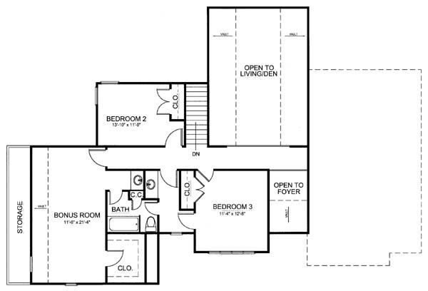 European Floor Plan - Upper Floor Plan Plan #119-282