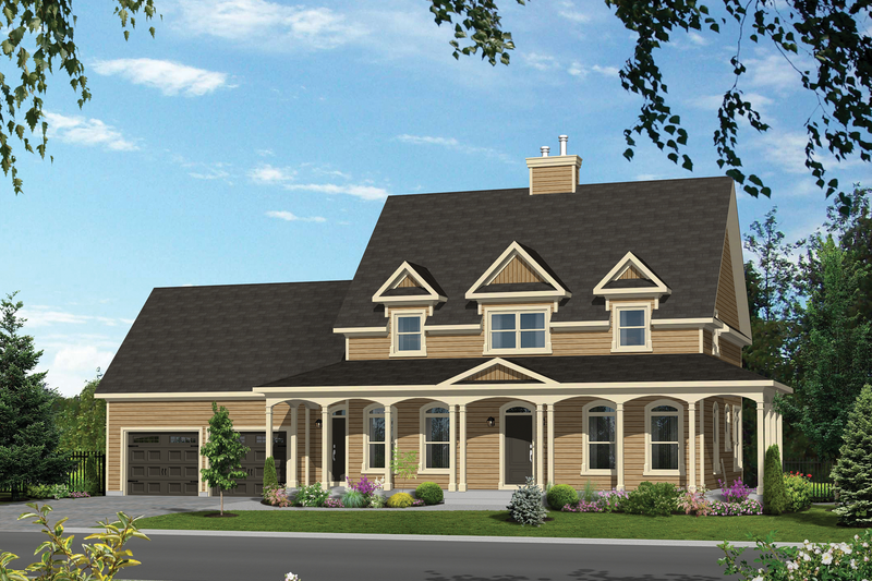Country Style House Plan - 3 Beds 3 Baths 2369 Sq/Ft Plan #25-4497 Exterior - Front Elevation