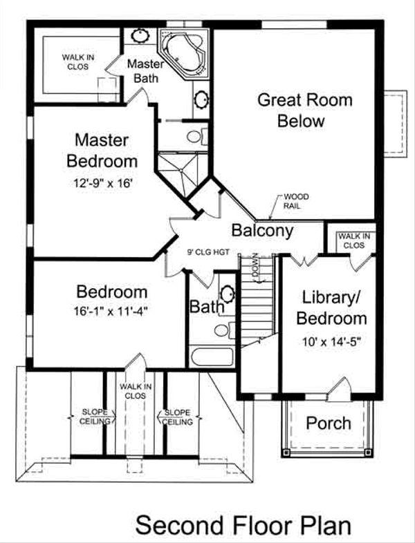 Traditional Floor Plan - Upper Floor Plan Plan #46-493