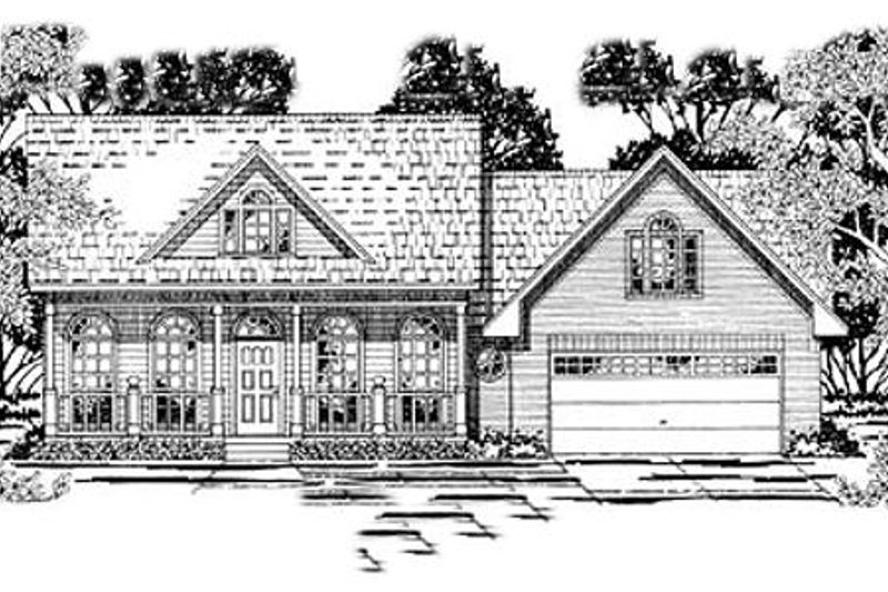 Southern Style House Plan - 3 Beds 2 Baths 1697 Sq/Ft Plan #42-244 Exterior - Front Elevation