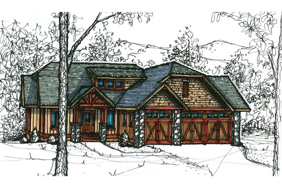 Craftsman Exterior - Front Elevation Plan #921-20