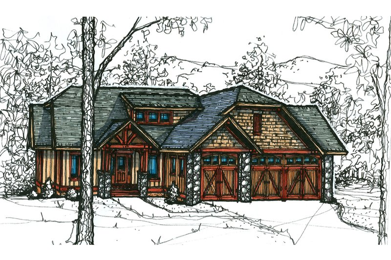 Craftsman Style House Plan - 3 Beds 2.5 Baths 1901 Sq/Ft Plan #921-20 Exterior - Front Elevation