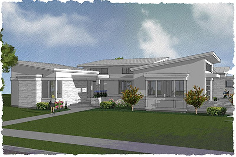 Modern Exterior - Front Elevation Plan #48-497 - Houseplans.com