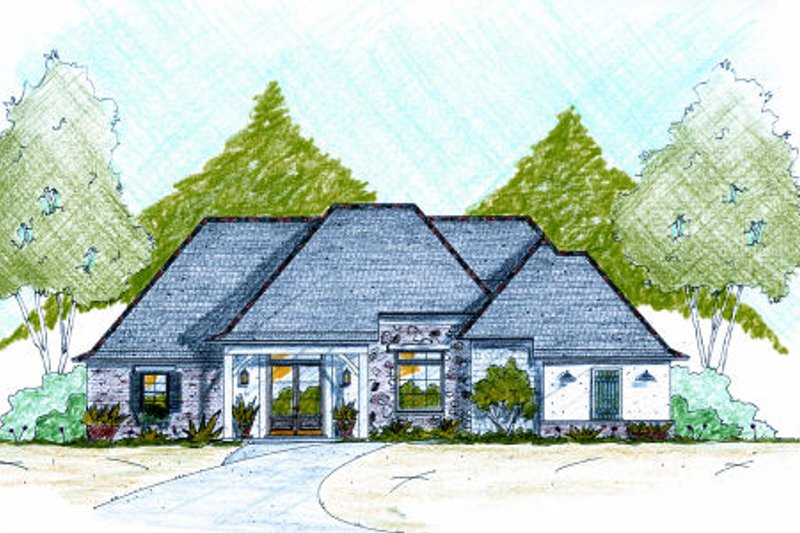 European Exterior - Front Elevation Plan #36-486