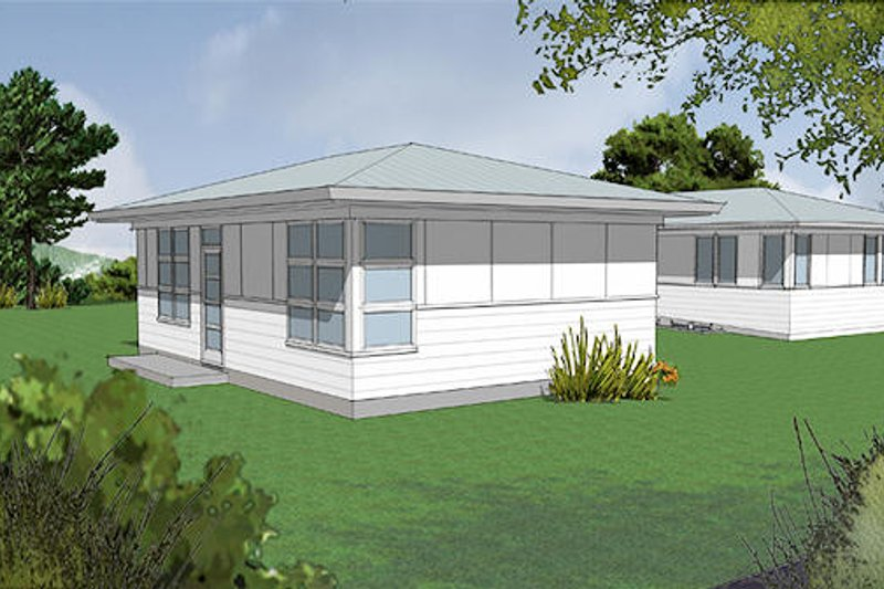 Modern Exterior - Front Elevation Plan #48-473
