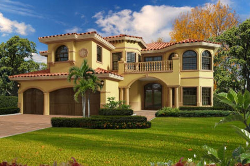 Mediterranean Style House Plan - 6 Beds 4.5 Baths 4881 Sq/Ft Plan #420-291 Exterior - Front Elevation