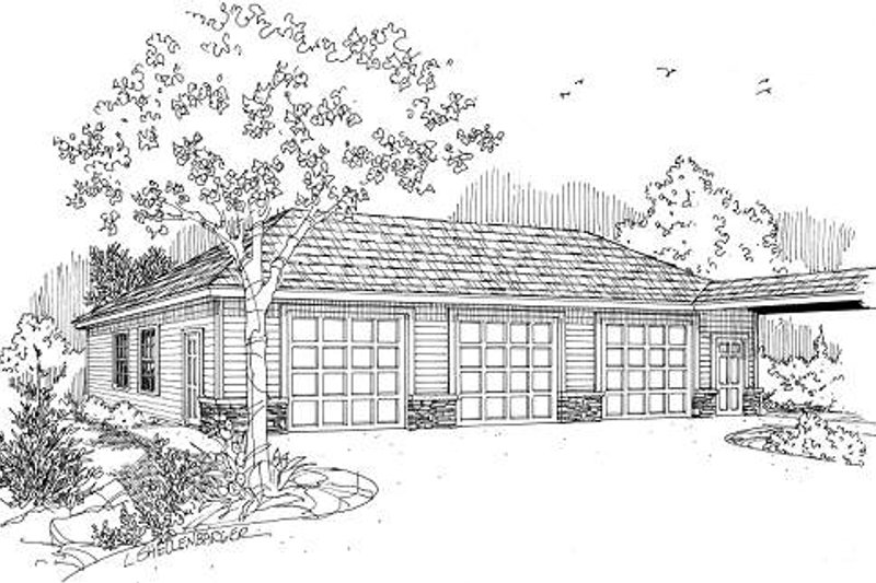 Ranch Exterior - Front Elevation Plan #124-636 - Houseplans.com