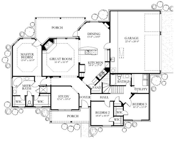 Dream House Plan - European Floor Plan - Main Floor Plan #80-152