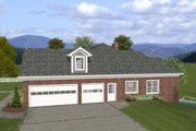 Ranch Style House Plan - 4 Beds 3.5 Baths 2000 Sq/Ft Plan #56-574 Exterior - Other Elevation