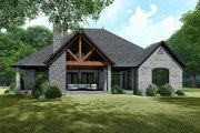 European Style House Plan - 4 Beds 3.5 Baths 3068 Sq/Ft Plan #923-139 Exterior - Rear Elevation