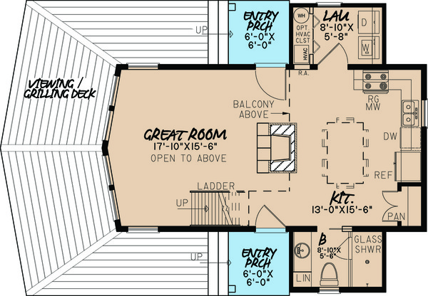 Contemporary Floor Plan - Main Floor Plan Plan #923-5