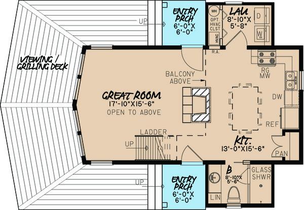 Contemporary Floor Plan - Main Floor Plan Plan #923-5