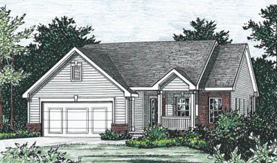 Traditional Style House Plan - 2 Beds 2.5 Baths 1377 Sq/Ft Plan #20-1236 Exterior - Front Elevation