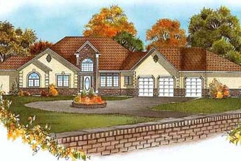 Traditional Style House Plan - 2 Beds 2.5 Baths 2177 Sq/Ft Plan #409-103 Exterior - Front Elevation