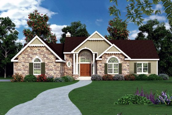 Country Exterior - Front Elevation Plan #456-24
