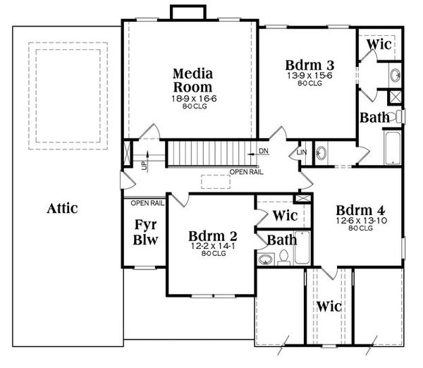 Traditional Floor Plan - Upper Floor Plan Plan #419-266