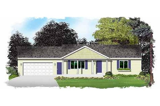 Ranch Exterior - Front Elevation Plan #49-271