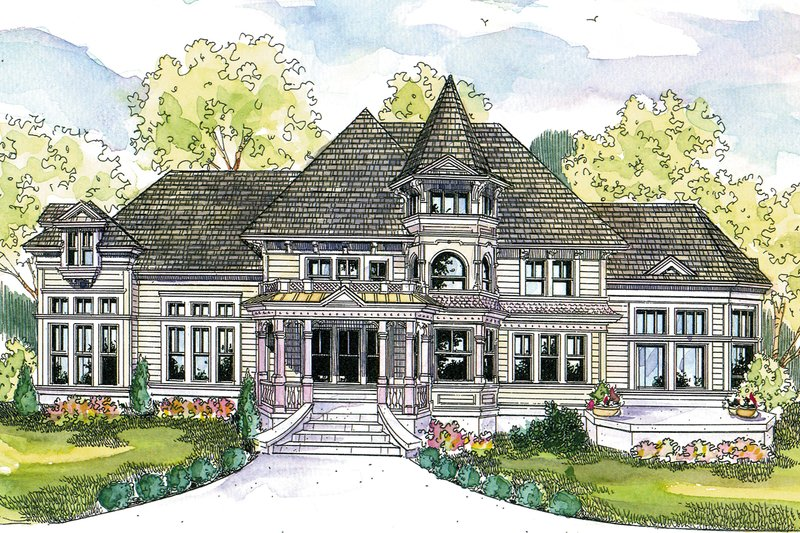 Victorian Style House Plan - 3 Beds 3 Baths 3457 Sq/Ft Plan #124-559 Exterior - Front Elevation