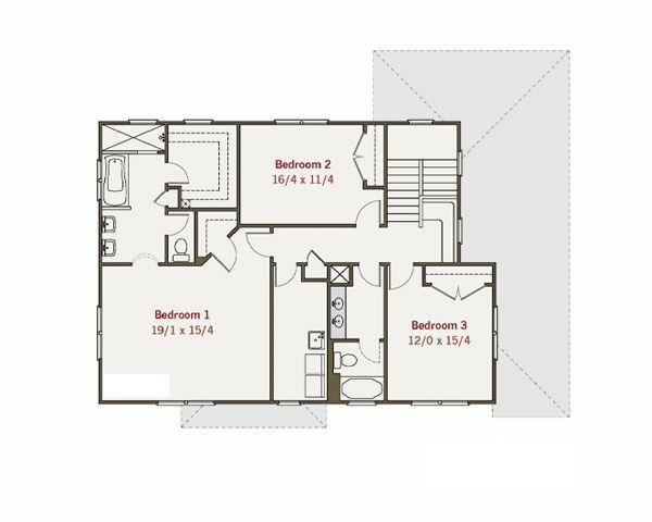 Craftsman Style House Plan - 3 Beds 2.5 Baths 2572 Sq/Ft Plan #461-15 Floor Plan - Upper Floor Plan