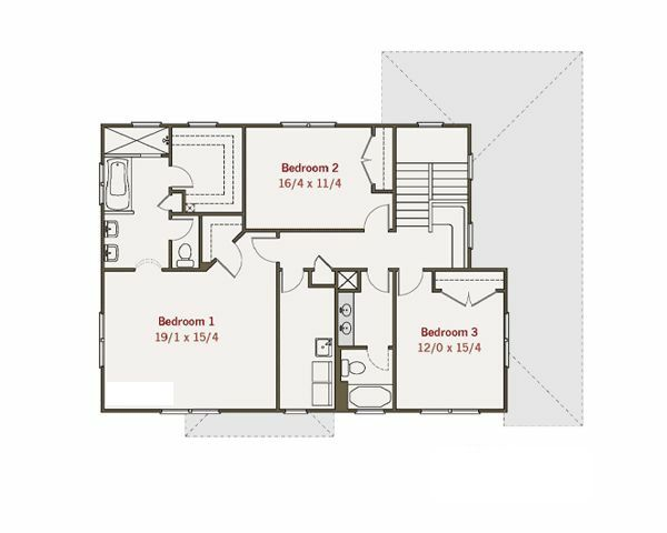 Craftsman Floor Plan - Upper Floor Plan Plan #461-15