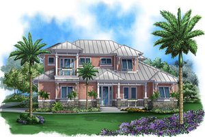 Beach Exterior - Front Elevation Plan #27-519