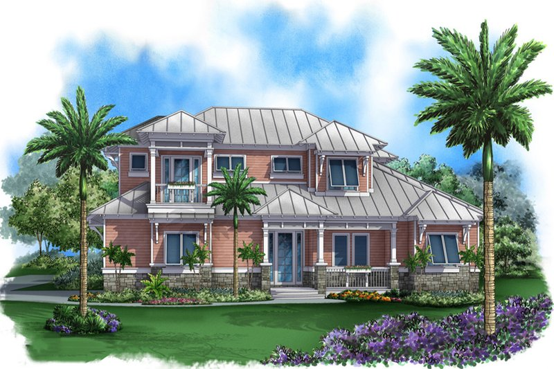 Beach Style House Plan - 4 Beds 4.5 Baths 4905 Sq/Ft Plan #27-519 Exterior - Front Elevation