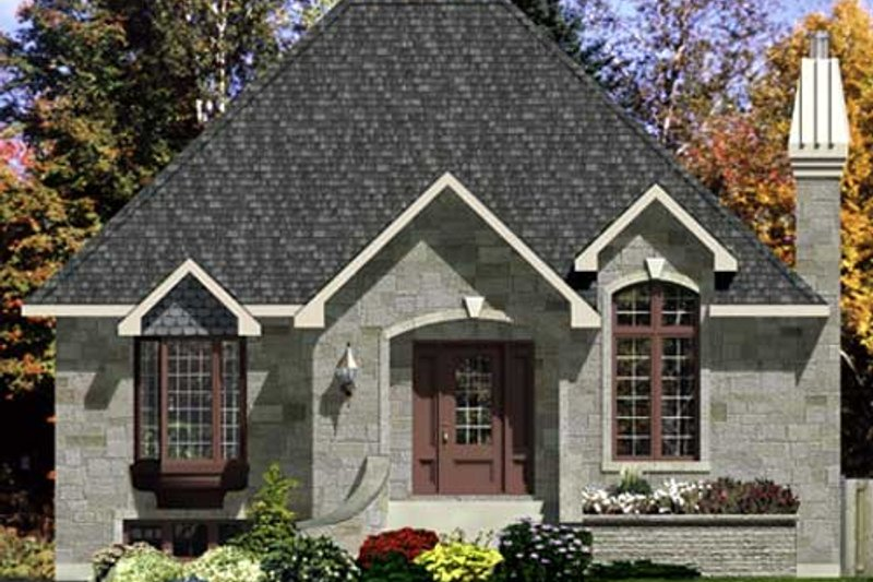 European Style House Plan - 3 Beds 1 Baths 1008 Sq/Ft Plan #138-306 Exterior - Front Elevation
