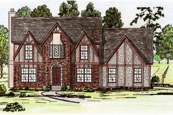 Tudor Exterior - Front Elevation Plan #405-111