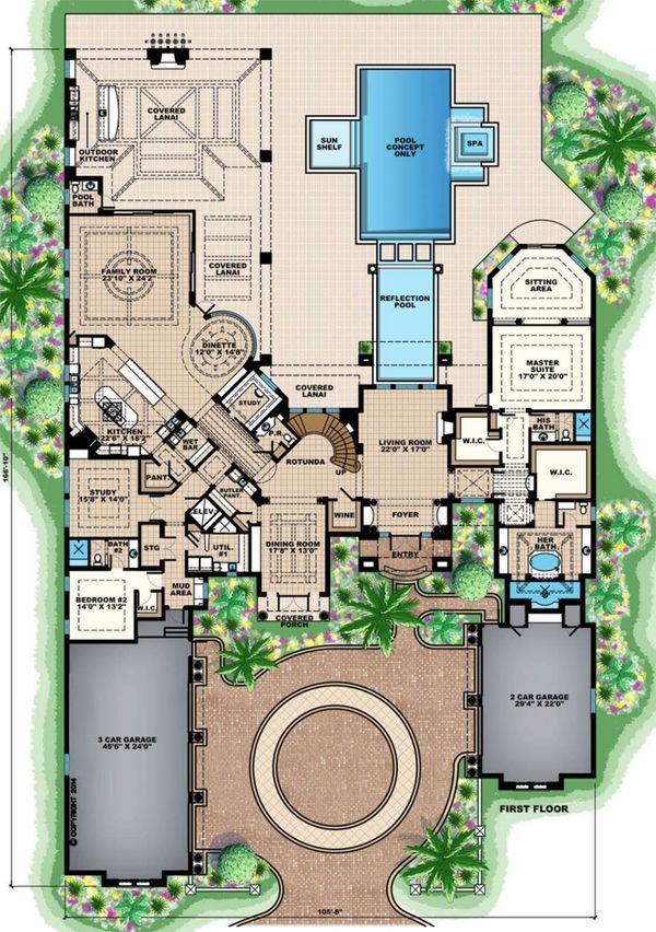 Mediterranean Floor Plan - Main Floor Plan Plan #27-549