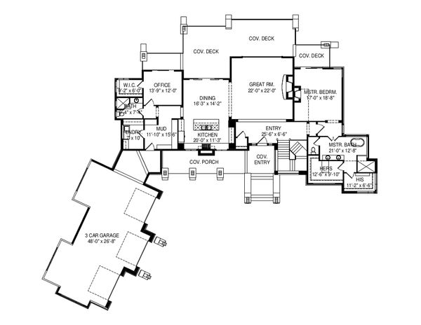 Modern Floor Plan - Main Floor Plan Plan #920-89