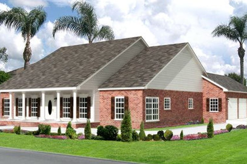 Southern Exterior - Front Elevation Plan #44-164