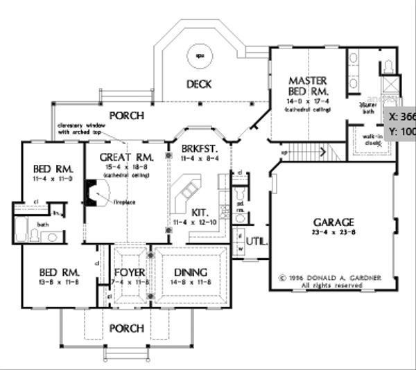 Farmhouse Floor Plan - Main Floor Plan Plan #929-1046