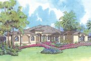European Style House Plan - 4 Beds 4.5 Baths 4253 Sq/Ft Plan #420-120 Exterior - Front Elevation