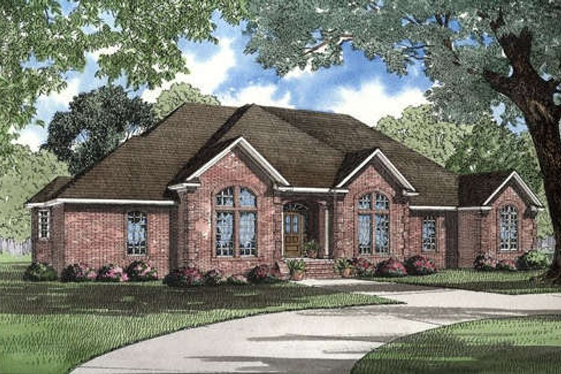 European Style House Plan - 3 Beds 2.5 Baths 2742 Sq/Ft Plan #17-1039 Exterior - Front Elevation
