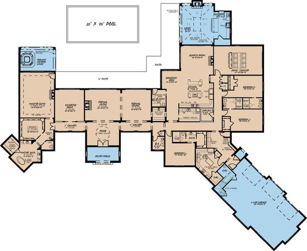 European Style House Plan - 4 Beds 4.5 Baths 6554 Sq/Ft Plan #923-69 Floor Plan - Main Floor Plan