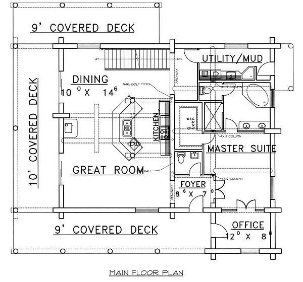 House Plan Design - Log Floor Plan - Main Floor Plan #117-502