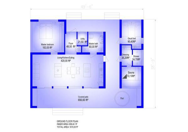 Modern Floor Plan - Main Floor Plan #549-24