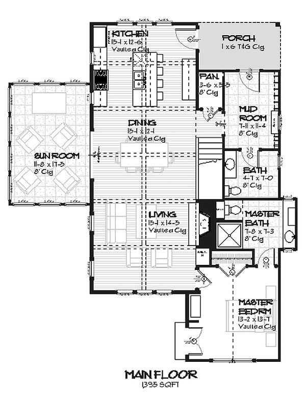 Cottage Style House Plan - 3 Beds 2.5 Baths 2299 Sq/Ft Plan #901-7 Floor Plan - Main Floor Plan