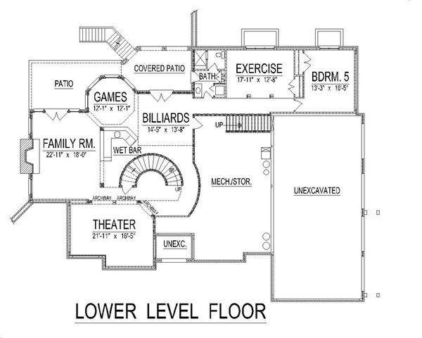 European Floor Plan - Lower Floor Plan Plan #458-14
