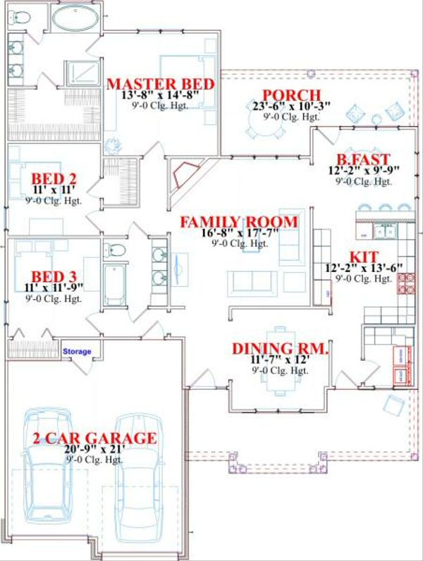 Traditional Floor Plan - Main Floor Plan Plan #63-157