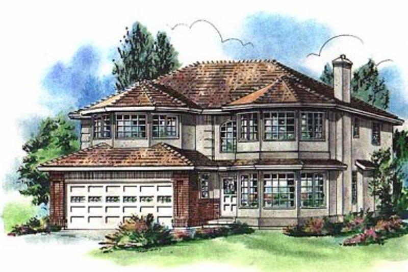 House Blueprint - Mediterranean Exterior - Front Elevation Plan #18-257