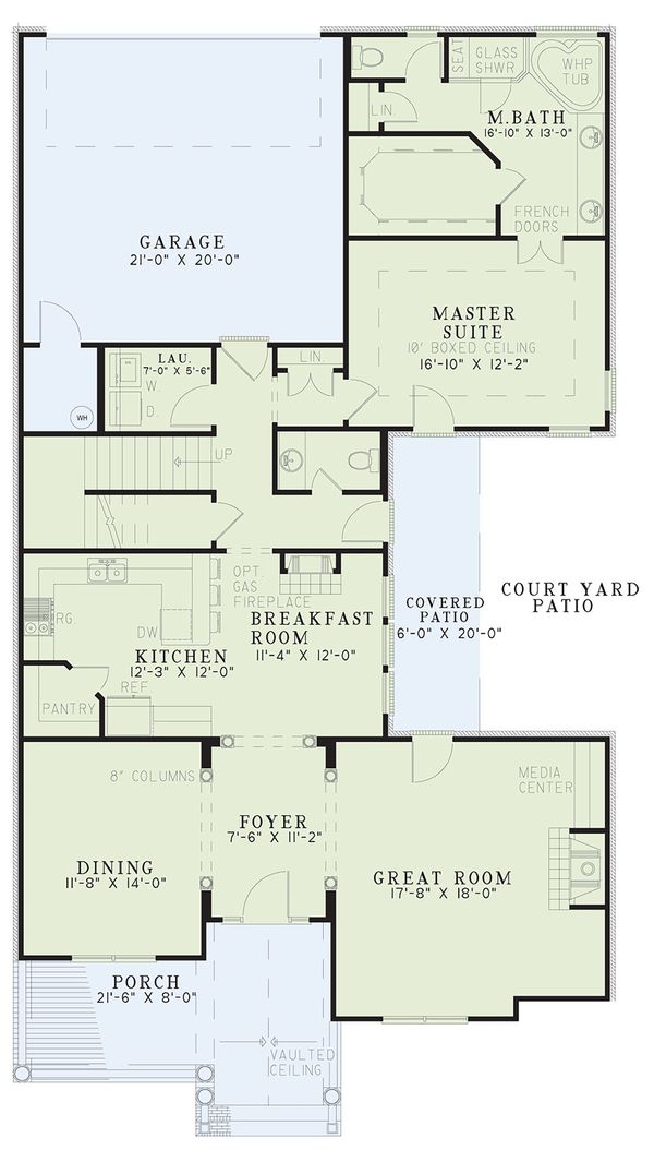 Dream House Plan - Traditional Floor Plan - Main Floor Plan #17-2003