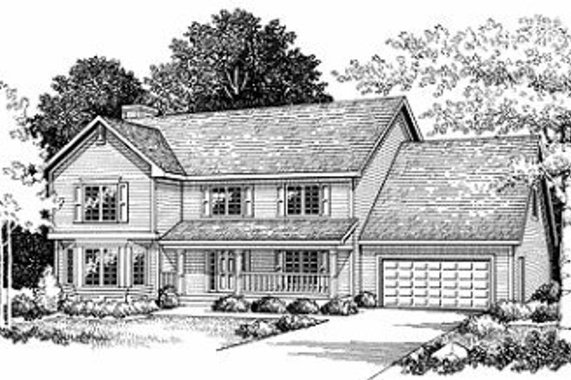 Traditional Style House Plan - 4 Beds 2.5 Baths 2370 Sq/Ft Plan #70-376 Exterior - Front Elevation