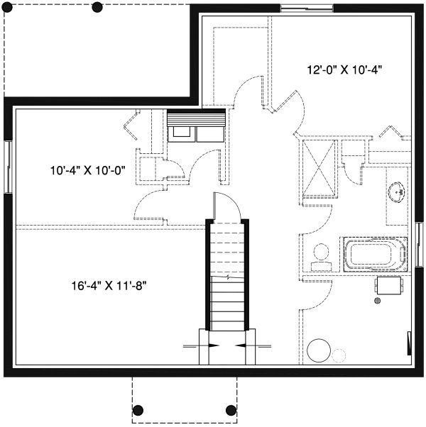 Craftsman Floor Plan - Lower Floor Plan Plan #23-2696
