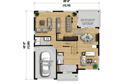Modern Style House Plan - 2 Beds 1 Baths 1755 Sq/Ft Plan #25-4608 Floor Plan - Main Floor Plan