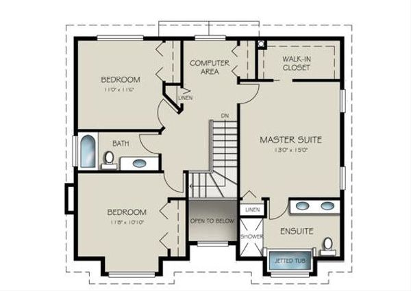 Traditional Floor Plan - Upper Floor Plan Plan #18-286