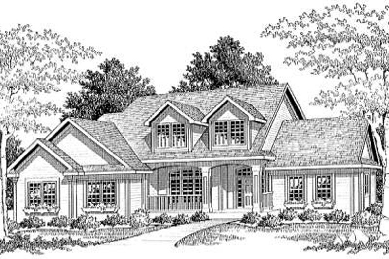 Traditional Style House Plan - 3 Beds 2.5 Baths 2081 Sq/Ft Plan #70-297 Exterior - Front Elevation