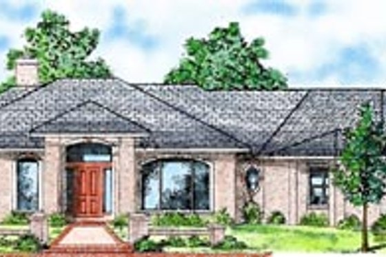 Mediterranean Exterior - Front Elevation Plan #52-115