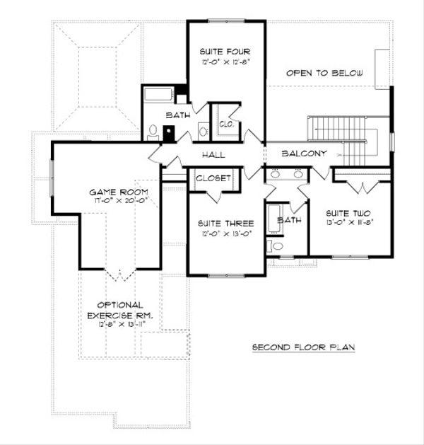 European Floor Plan - Upper Floor Plan Plan #413-883