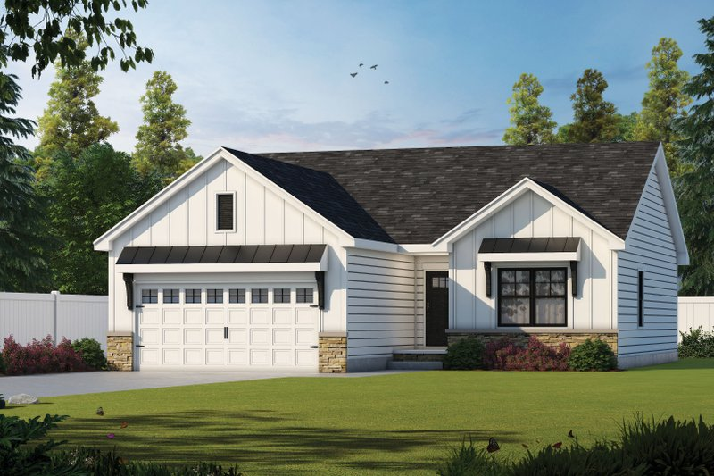 Farmhouse Style House Plan - 3 Beds 2 Baths 1176 Sq/Ft Plan #20-2363 Exterior - Front Elevation